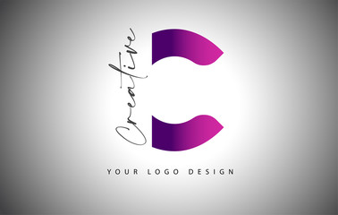 Creative Letter C Logo With Purple Gradient and Creative Letter Cut.