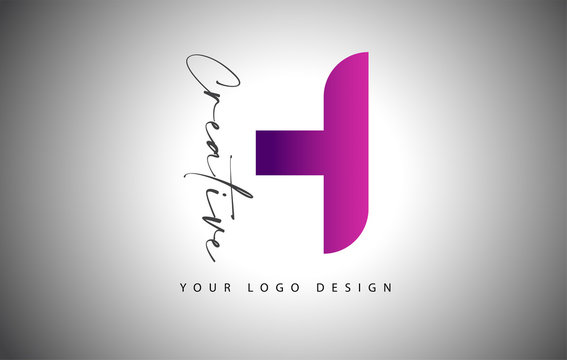 Creative Letter H Logo With Purple Gradient and Creative Letter Cut.