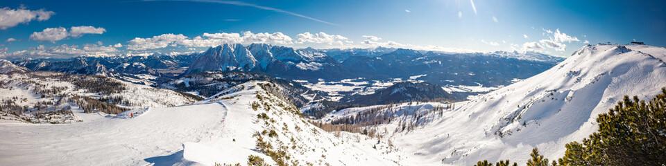 Fotobehang Alpen Tauplitz Alm close to Bad Mitterndorf in Styria, Austria, in winter