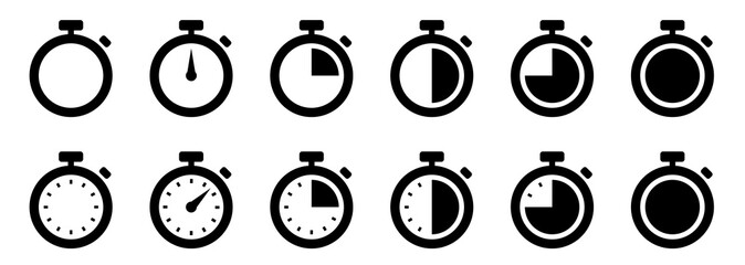 Timers icon set. Countdown timer symbol. Timer. Stopwatch collection - stock vector.