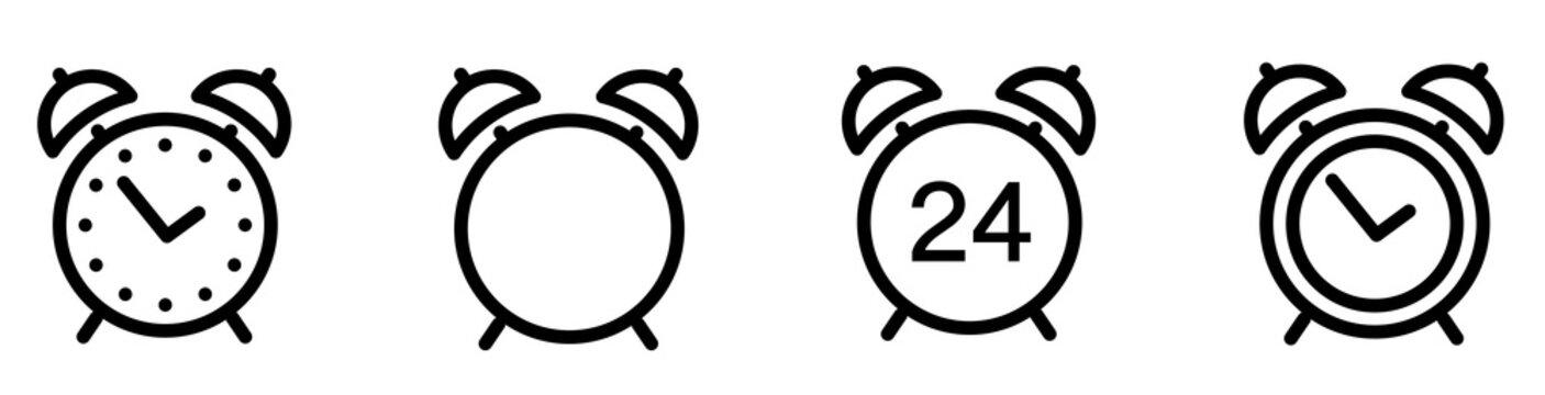 Alarm clock icon. Line style - stock vector.