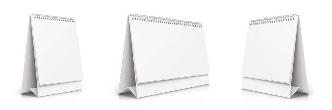 Vertical and horizontal set realistic paper calendar blank. Calendars of different sizes. Desktop tipping calendars - stock vector.
