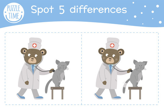 Medical find differences game for children. Medicine preschool activity with doctor examining patients lungs. Puzzle with cute funny smiling characters..