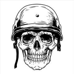 Military soldier skull head helmet fighter warrior, war, trooper, infantryman, bone