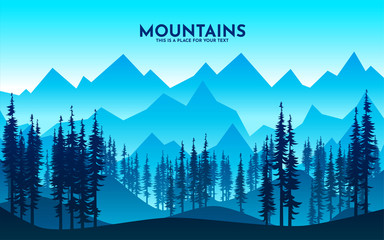 Vector illustration of beautiful dark blue mountain landscape with fog and forest. sunrise and sunset in mountains. Hills and rocks. Flat landscape design