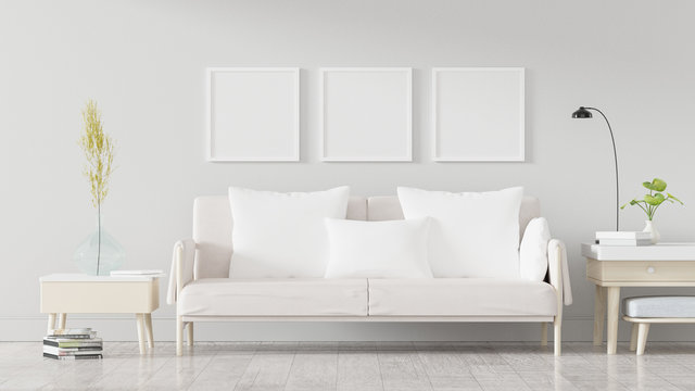 Square poster mockup with Three  frames on empty white wall in living room interior, Living room, 3D Rendering