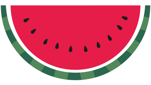 Slice of red ripe watermelon with dark seeds isolated on white background. Graphic of water melon illustration, icon, clip art. Summer concept, freedom symbol, racism symbol. Fruit, berry drawing