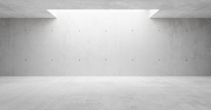 Abstract empty, modern concrete walls hallway room with indirekt ceiling lights in the back - industrial interior background template