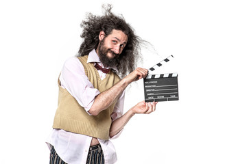 Foto auf Leinwand Artist KB Funny, skinny geek holding a clappenboard - isolated