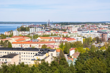 Deurstickers Noord Europa View to the City of Tampere from Pyynikki Observation Tower, Finland