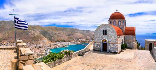 Travel in Greece - beautiful Kalymnos island, Dodecanese. view pf Pothia town and agios Savvas monastery