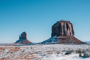 Aluminium Prints Blue Monument Valley Utah after a fresh snow