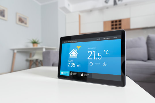 Smart home system device in modern living room