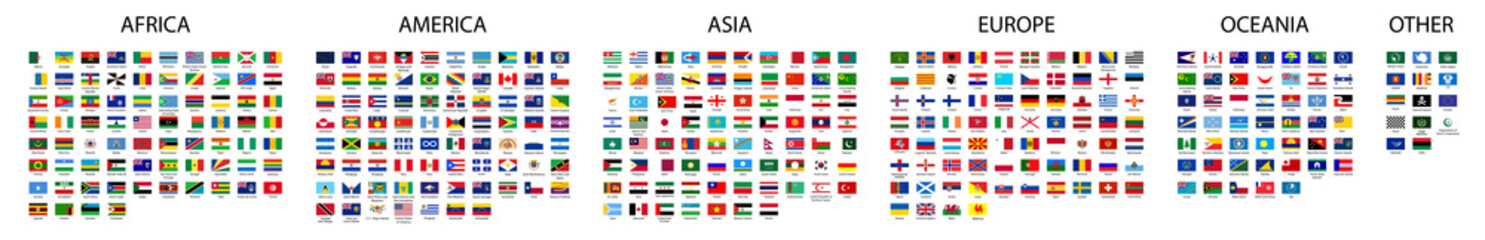 Flag of world. Vector icons. Set flags. Fotomurales