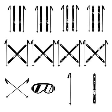 Skiing gear set.  Assortment of skis, poles, and goggles. Silhouette icons.