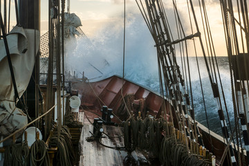 Foto op Canvas Schip Old traditional ship in Stormy weather