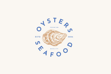 Hand-drawn oyster shell vector illustration. Logo template for a menu of a fish restaurant, market or seafood store. Emblem of delicacy in the engraving style on a light background.