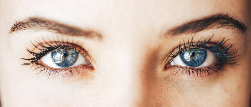 beautiful blue eyes with long eyelashes lenses vision