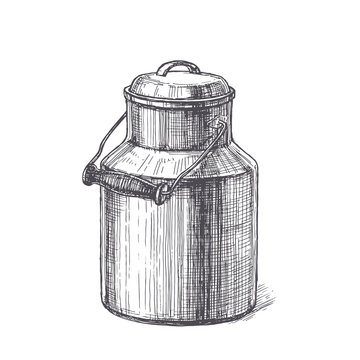 Vector vintage illustration with milk can in engraving style. Hand drawn sketch with natural farm product in metallic canister isolated on white