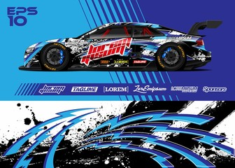 Car graphic livery design vector. Abstract stripe racing background for wrap race car, rally, drift car, cargo van, pickup truck and adventure vehicle. Full vector Eps 10.