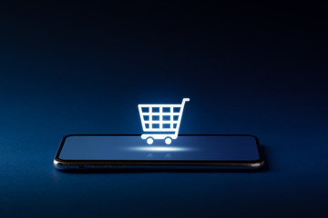 Online shopping icon on smart phone for global concept
