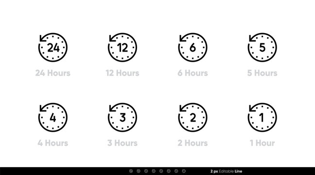 Time interval clock icons 24, 12, 6, 5, 4, 3, 2, 1 hours. Vector editable line.