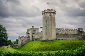 Warwick Castle with main tower peaking to the sky, England