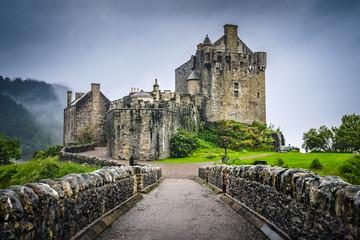 Scottish medieval Eilean Donan castle from its bridge, Scotland