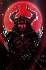 Fantasy Japanese samurai silhouette over red blood moon, warrior with sword in black armor, asian ninja fighter with katana weapon. Hight detailed vector illustration.