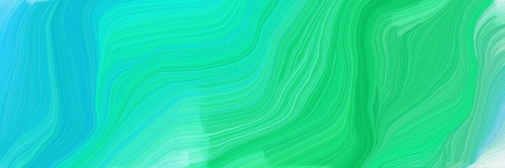 Wall Murals Green coral landscape banner with waves. abstract waves illustration with light sea green, medium spring green and medium sea green color