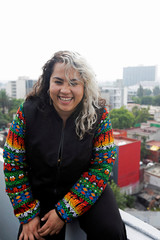 Songwriter Vivir Quintana, 36, smiles during a rehearsal with members of the female collective of Latin-American singers and authors 'El Palomar', who will sing a song against femicide at Zocalo square, in Mexico City