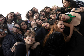 Members of the female collective of Latin-American singers and authors 'El Palomar', who will sing a song against femicide at Zocalo square, pose for a picture in Mexico City