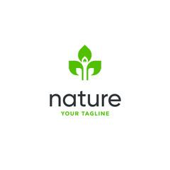 leaf logo design vector for nature symbol template editable