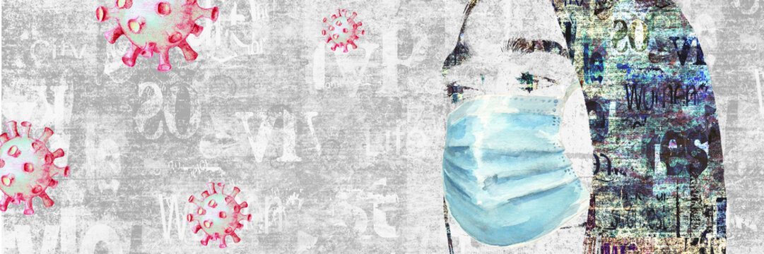 Mixed media collage. Woman portrait with protection face mask