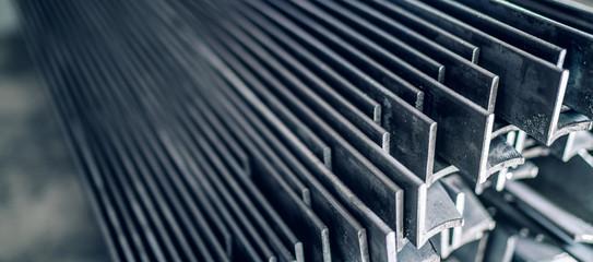 Fototapeta Stainless steel angles or angle bars obraz