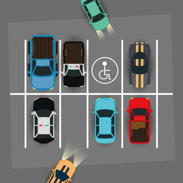 group of cars and disable space in parking zone scene