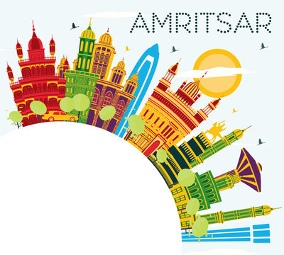 Amritsar India City Skyline with Color Buildings, Blue Sky and Copy Space.