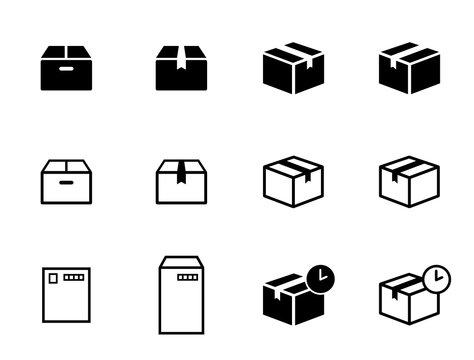 宅配便、小包、郵送、箱、ハガキ、封筒などのアイコンセット