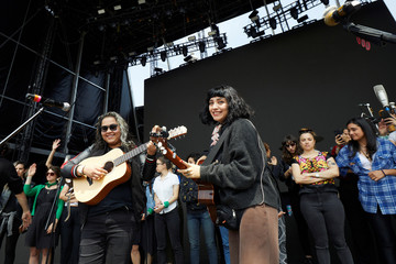Songwriter Vivir Quintana and Chilean singer Mon Laferte rehearse with members of the female collective of Latin-American singers and authors 'El Palomar', at Zocalo square in Mexico City