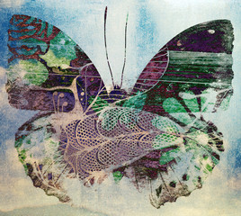 Photo on textile frame Butterflies in Grunge Grunge butterfly