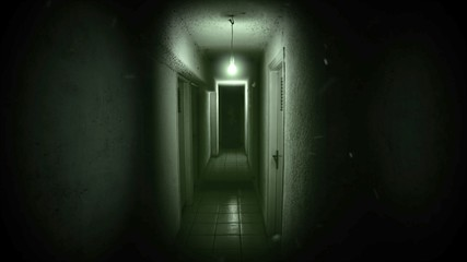 Mystical horror background with dark hall of room. Fotomurales