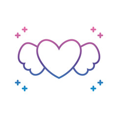 heart with wings icon, gradient line style