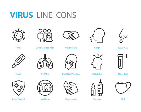 set of coronavirus icons, virus, ncov-2019, disease, sickness, illness