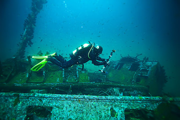 Photo Blinds Shipwreck shipwreck diving landscape under water, old ship at the bottom, treasure hunt