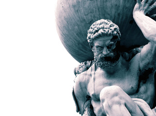 Statue of the Greek God Atlas holding the globe on his shoulders.  With colour toning Fotomurales