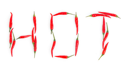 Canvas Prints Hot chili peppers word hot of red chili pepper on white background