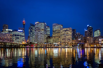 Fotomurales - Sydney at Darling Harbour by Night