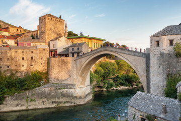 Photo sur Toile Con. Antique Stari Most bridge at sunset in old town of Mostar, BIH