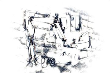 Foto auf Leinwand Gemälde Excavator illustration color isolated art work