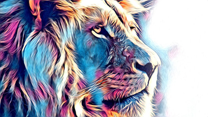 lion art illustration drawing Wall mural
